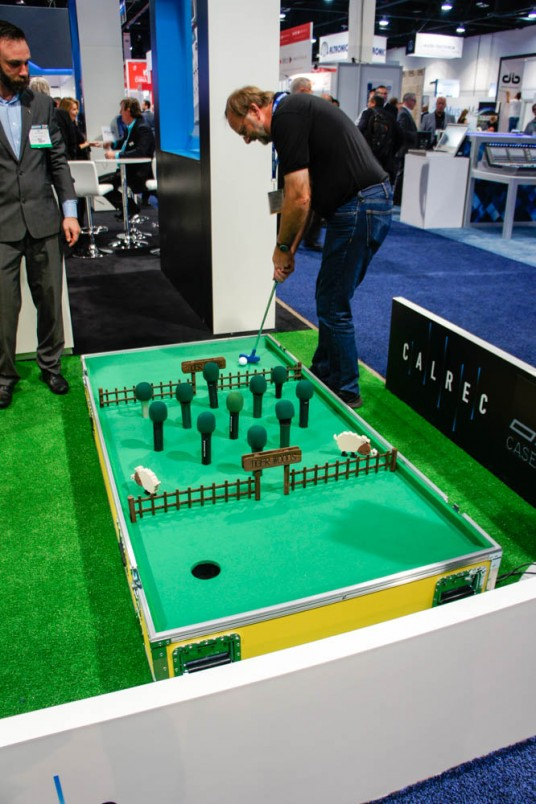 calrec mini golf club at NAB 2015